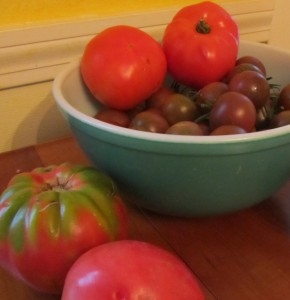 tomatoes, tomato-peach season